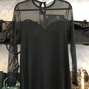 SONIA RYKIEL Black Sheer Long Sleeve Knit Dress
